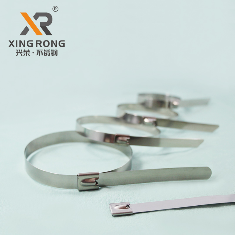 供应浙江兴荣XR-C滚珠自锁304不锈钢扎带 耐腐蚀金属扎带
