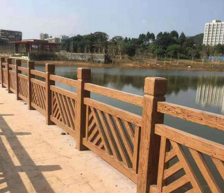 水浒建材水泥仿石扇形护栏河堤河道安全围栏仿木护栏仿木栏杆图片