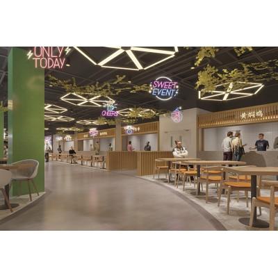 合肥美食广场装修设计,紧凑而整齐,营造热闹氛围,顾客络绎不绝