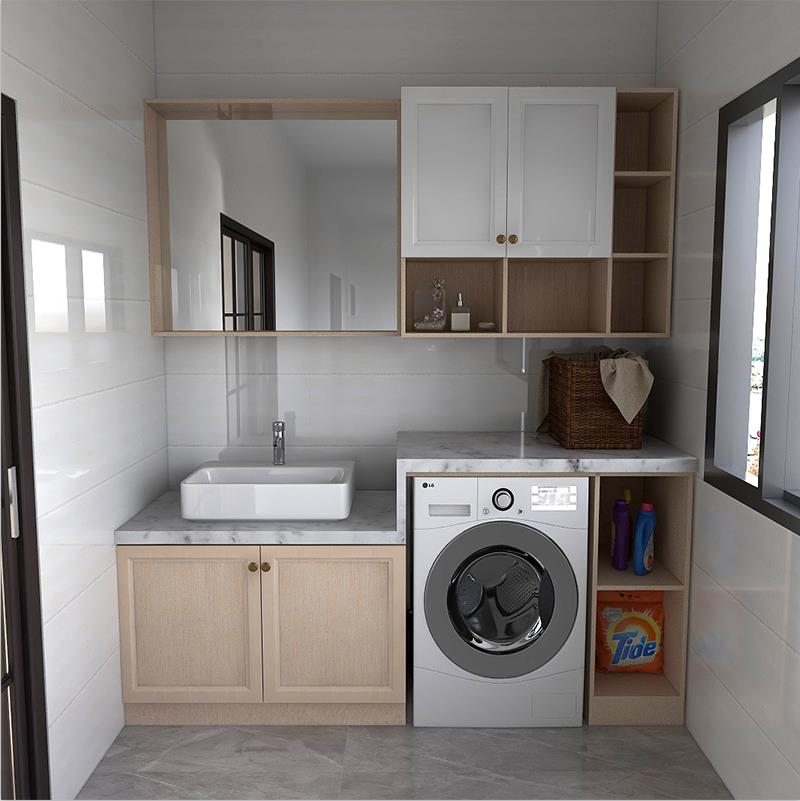凯米特全屋全铝定制阳台卫生间洗衣机伴侣落地洗漱台