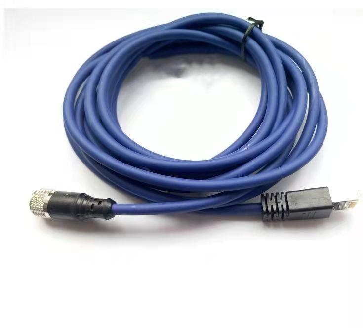 科迎法M12 4芯预铸工业以太网连接器;双端预制RJ45接头图片