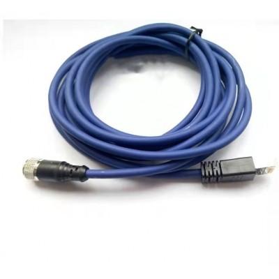 科迎法M12 4芯预铸工业以太网连接器;双端预制RJ45接头